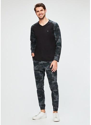Dagi Pike V Yaka Uzun Kollu Pijama Takımı Füme